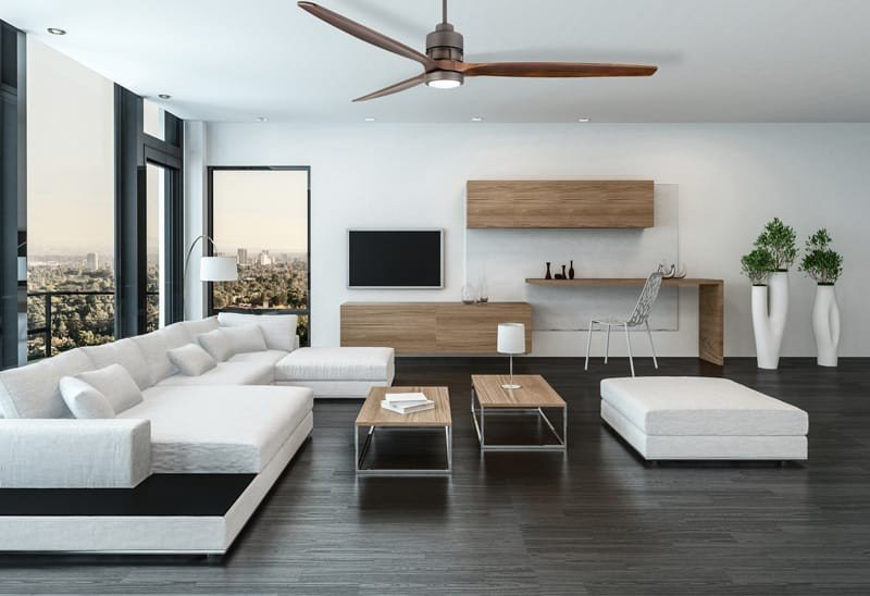 Three blade ceiling fan with Chrome motor finish and Light Oak blades in a modern living room setting.