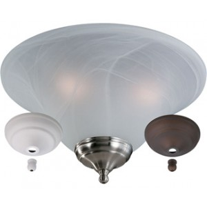 White Faux Alabaster Bowl Light Kit