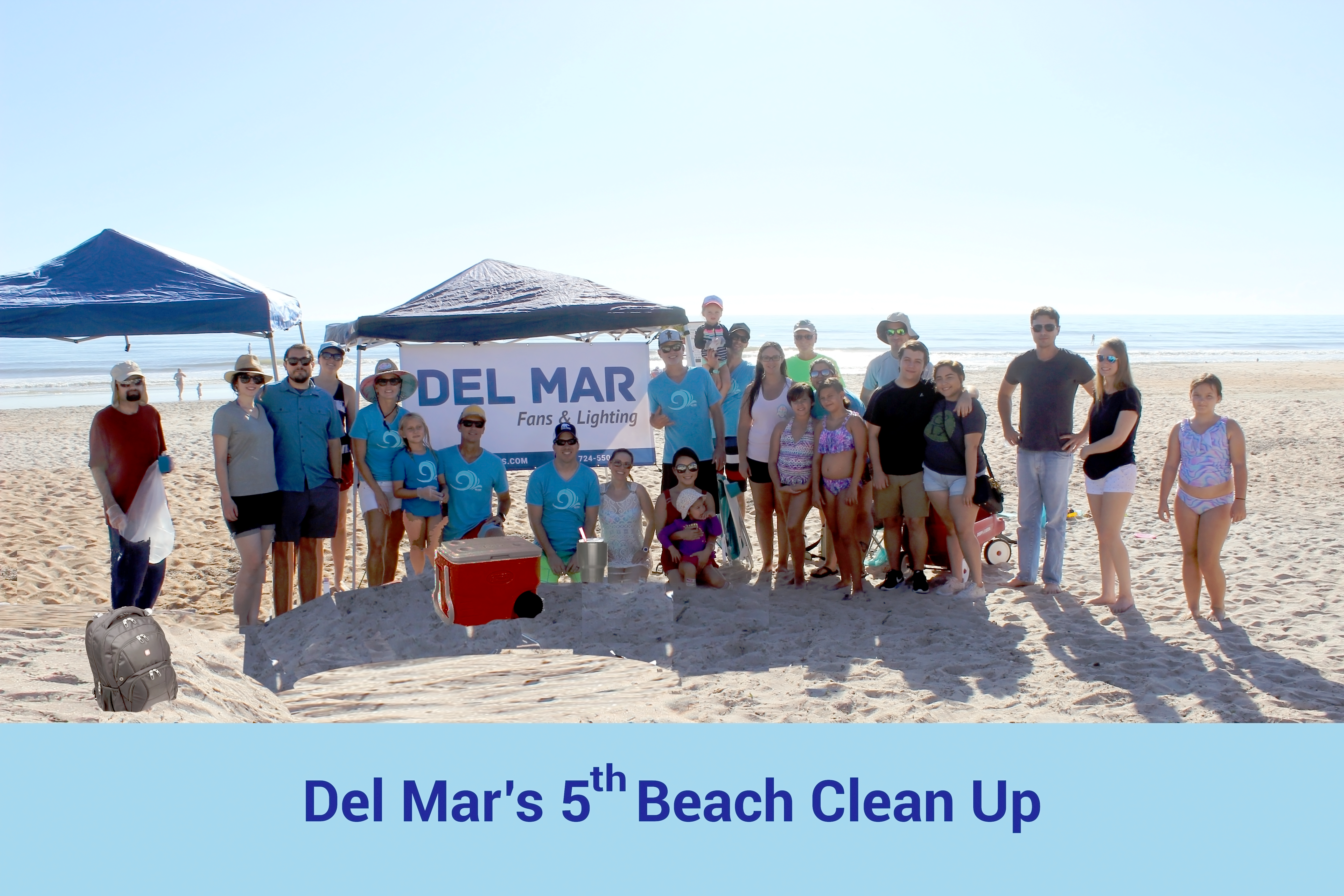Del Mar's family and friends are shown in a group on the beach after the beach clean up.