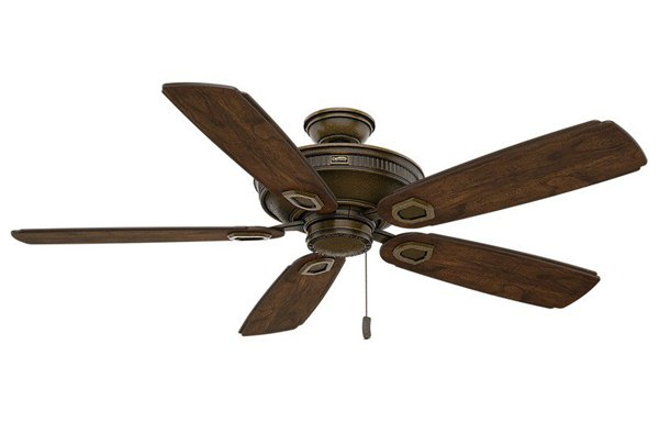 Pictured is an outdoor ceiling fan with an aged bronze finish, five wooden blades, and a pull-chain.