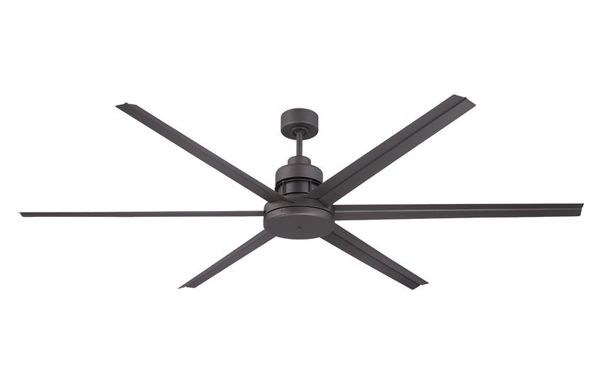 Pictured is a large outdoor ceiling fan with six dark espresso aluminum blades.