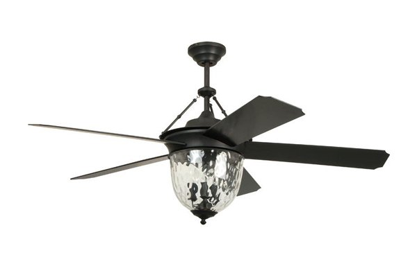 Pictured is a black outdoor ceiling fan with three candle-shaped lights, and five blades.