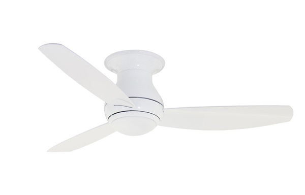 Pictured is an outdoor hugger ceiling fan with three white rounded blades and a downlight.
