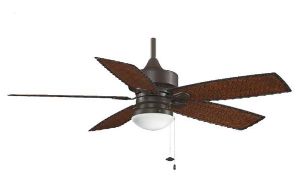 Pictured is an outdoor wet rated ceiling fan with five woven bamboo blades and a tropical appeal.