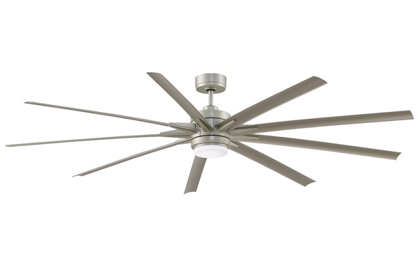 Pictured is a large high cfm ceiling fan with nine blades and an LED light.
