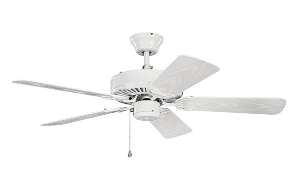 Pictured is a white five blade damp rated ceiling fan with a pull chain.