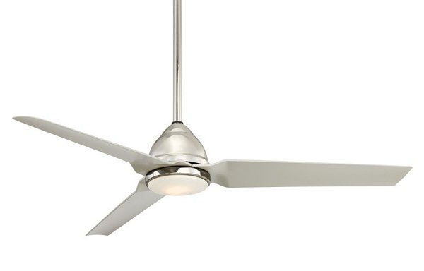 Pictured is an outdoor ceiling fan with three brushed nickel blades and a downrod.