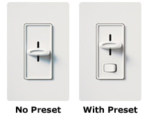 Side By Side Of A No Preset Dimmer Switch And A Preset Dimmer Switch
