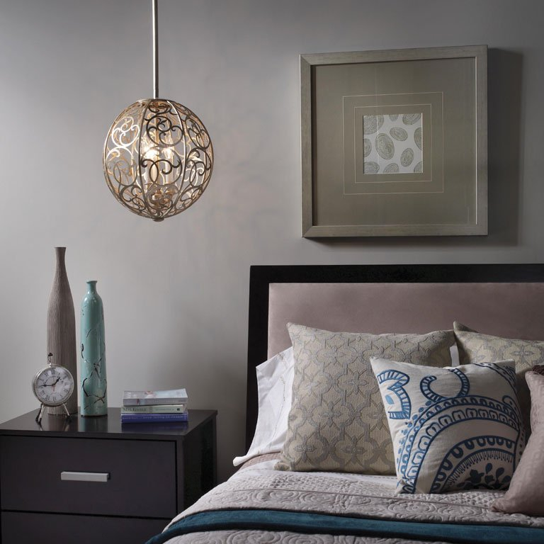 Decorative Round Pendant Light Fixture Over a Side Table