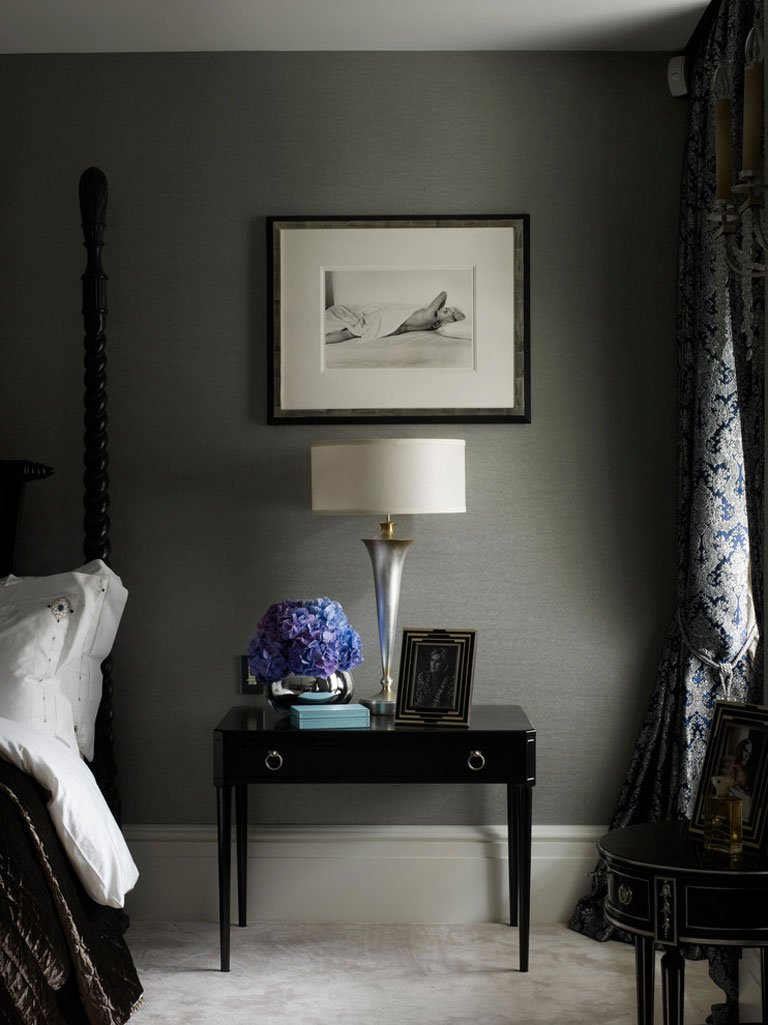 Gray Bedroom with Lamp on the Nightstand